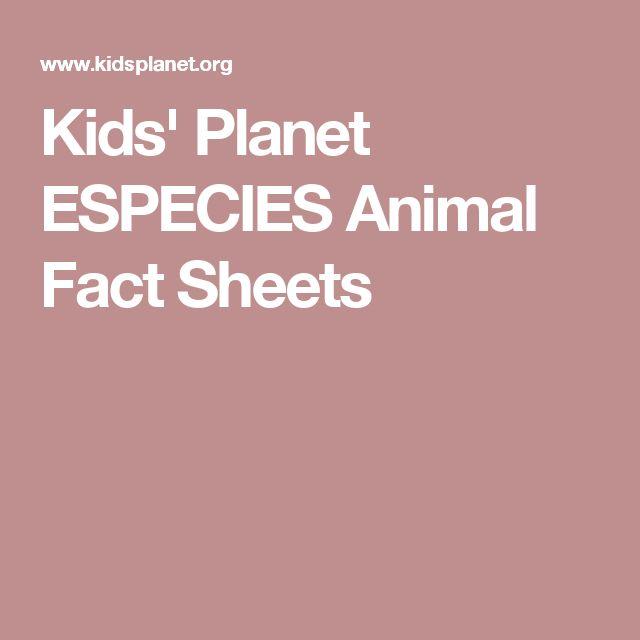 Kids' Planet ESPECIES Animal Fact Sheets