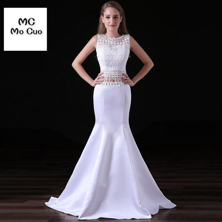 2017 Charming Bateau Neckline Mermaid Wedding Dress Two Pieces Gown vestidos de novia Draped Hard Satin Wedding Dresses