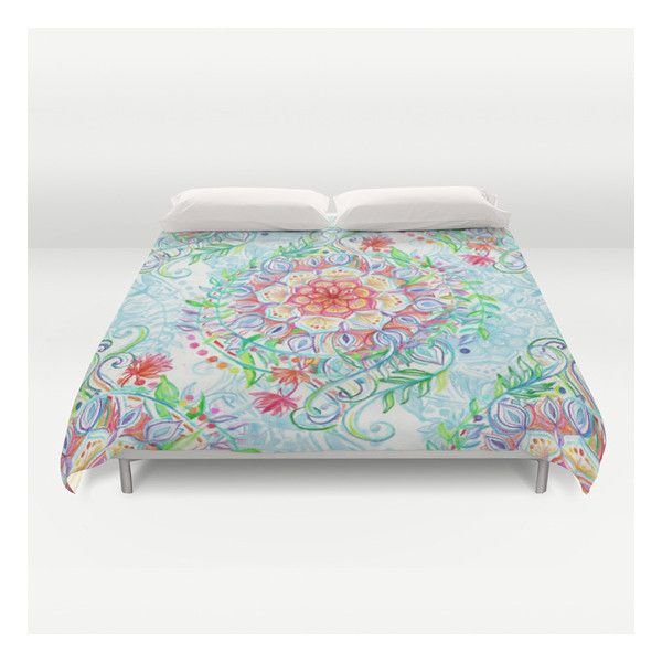 messy boho floral in rainbow hues duvet cover 129 liked on polyvore featuring twin xl