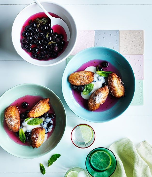 Gourmet Traveller recipe for hot ricotta fritters, blueberry-lime compote and ricotta cream, Smolt, Tasmania :: Gourmet Traveller