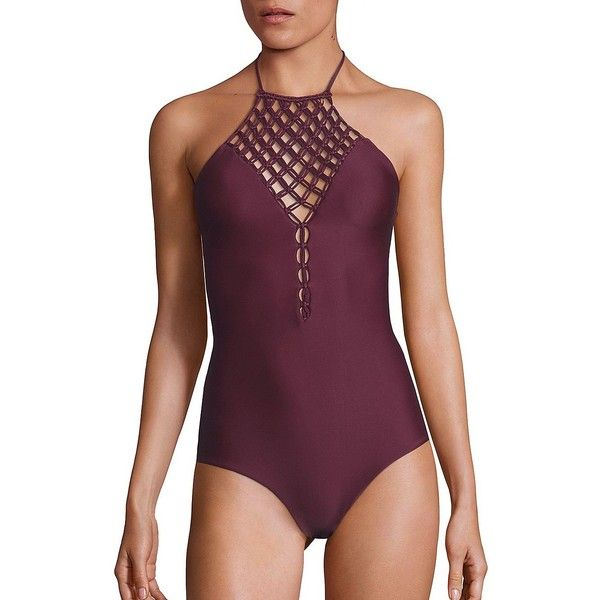 MIKOH SWIMWEAR One-Piece Avalon Macrame Halter Swimsuit ($315) ❤ liked on Polyvore featuring swimwear, one-piece swimsuits, apparel & accessories, wine, halter one piece bathing suit, halter top, halter one piece swimsuit, neck ties and swim suits