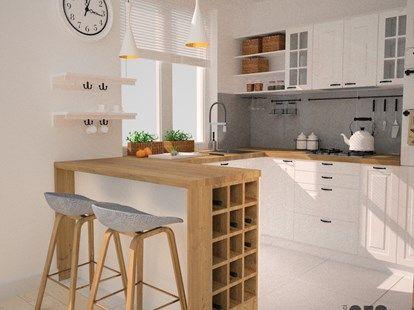 Projekt kuchni i salonu - Mała otwarta kuchnia w kształcie litery u w aneksie, styl skandynawski - zdjęcie od OES architekci