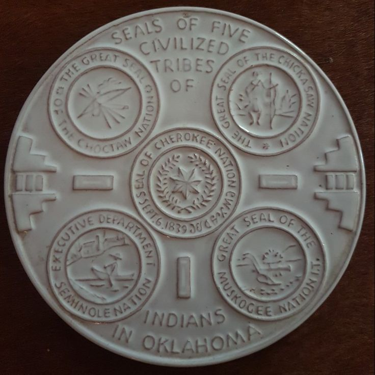 """Frankoma Pottery. 1971 OK 3 Mould Trivit """"Seals of the five Civilized Tribes of Indians in Oklahoma"""""""