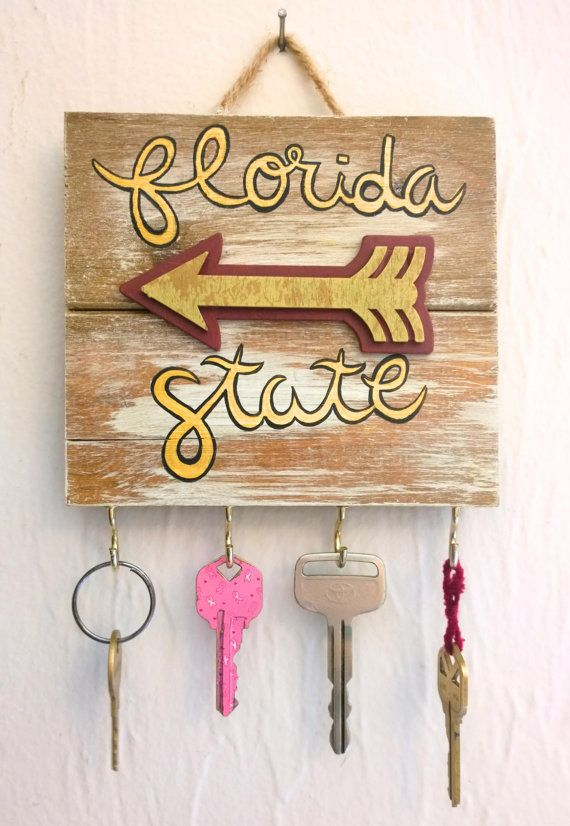 Florida State Seminoles / FSU Decal / FSU Jewelry Display / Florida State University / Key Holder / Key Hook / Key Rack / Gift Women / FSU