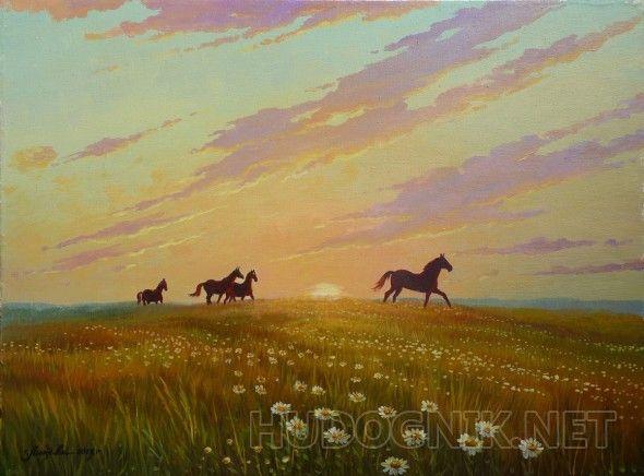 Лошади бегущие на водопой