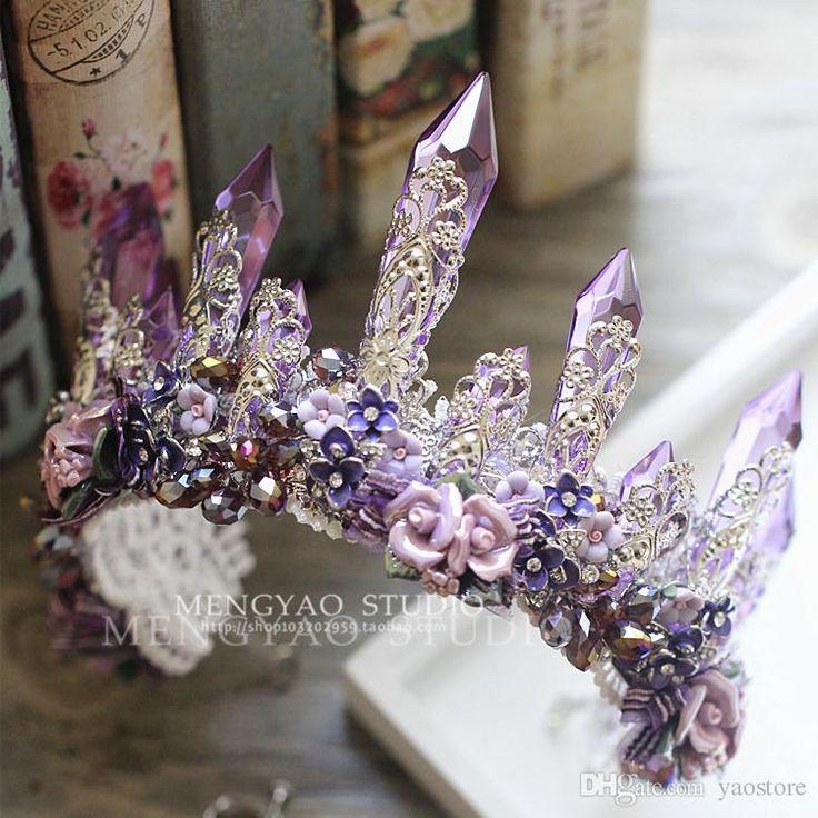 European Bride Tiaras Baroque Luxury Big Crowns 2016 Rhinestone Queen Diamond Hair Accessories Purple Crystal Ceramic Flower Earrings Suit Online with $46.07/Piece on Yaostore's Store   DHgate.com