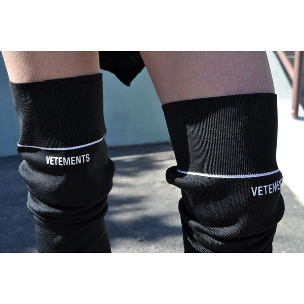 Vetements Thigh High Cuissardes Stretch Boot with Lighter Heel, Black ❤ liked on Polyvore featuring shoes, boots, stretch boots, stretchy boots, black above the knee boots, above-knee boots and over knee boots
