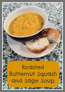 Recipe for easy, delicious and low fat Roasted Butternut Squash and Sage Soup