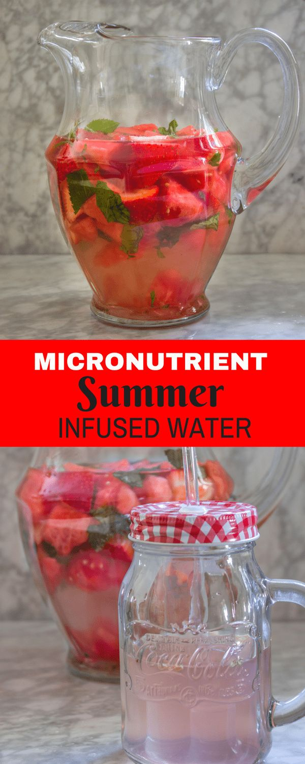 This watermelon, strawberry and mint infused water is packed with micro-nutrients.  It also has Vitamin A & Vitamin C.  Most importantly it is thirst quenching and DELICIOUS. Strawberry Watermelon Mint Infused Vitamin Water is the perfect way to get more nutrients and more water in your routine this summer. via @tinselbox_