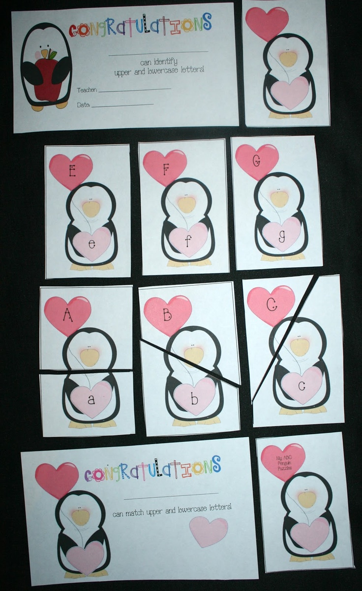 Penguin Letter and Puzzle Cards   - Pinned by @PediaStaff – Please Visit http://ht.ly/63sNt for all our pediatric therapy pins