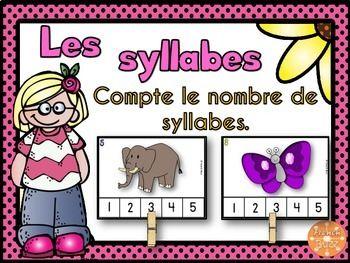 Les syllabes - compte le nombre de syllabes - 48 cartes. Jeu idéal pour les centres de littératie.