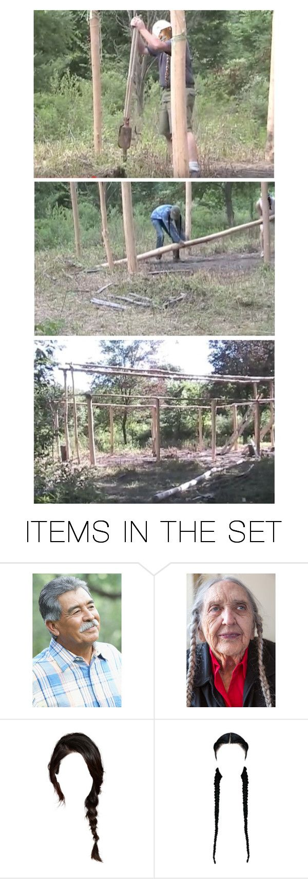 """Maria Was at the Trailer With Pauline Making Frybread for the Crew…the Men Had 19 Post Holes to Dig & 19 Posts to Choose, Strip, & Seat in the Holes…Things Went Fast With So Many Hands & They Had Time to Tie on the First Horizontal Supports as Well"" by maggie-johnston ❤ liked on Polyvore featuring art"