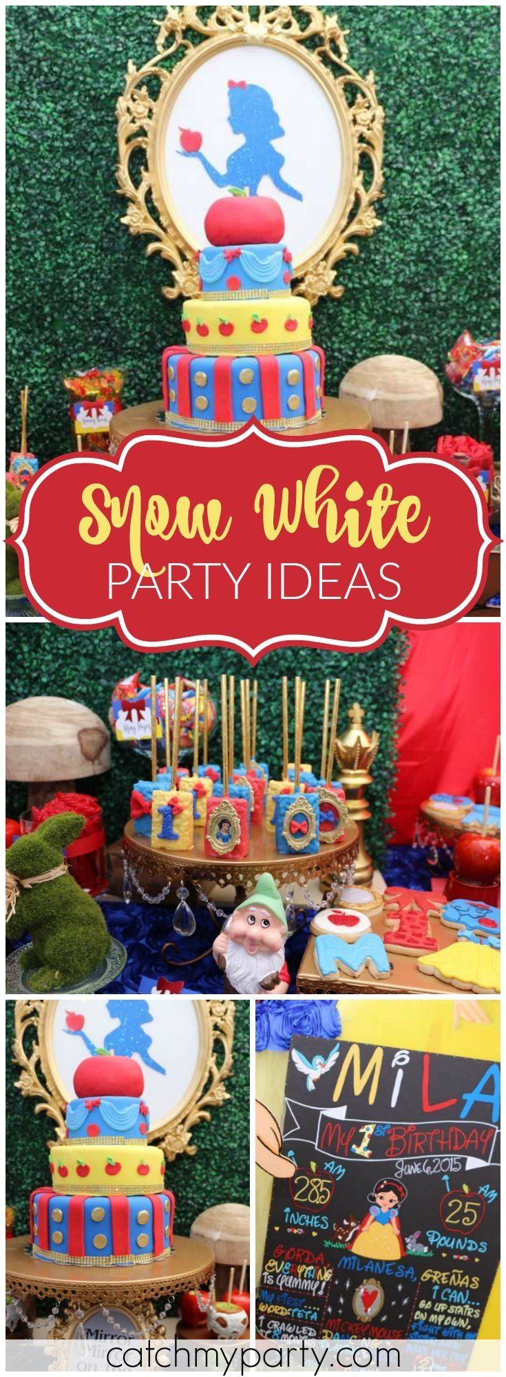 This Snow White girl birthday party is truly magical! See more party ideas at Catchmyparty.com!