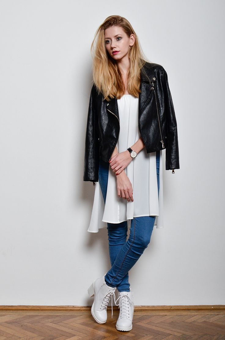 2020AVE | Fifty Pairs Of Shoes #white #jeans #boots #leatherjacket