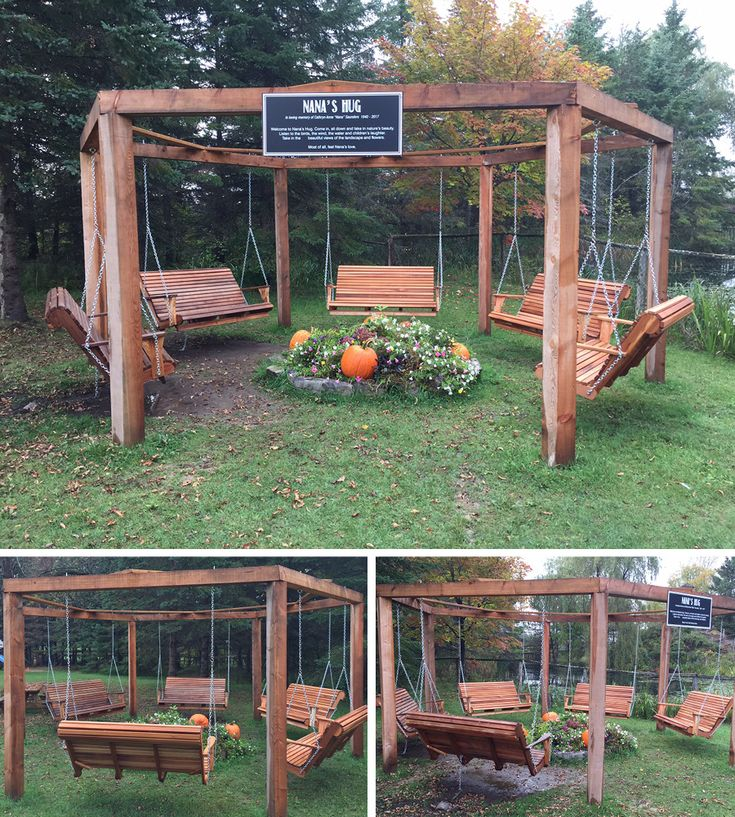 This amazing piece was created with five of our Family Porch Swings and delivered to Saunders Farms in Munster, Ontario.