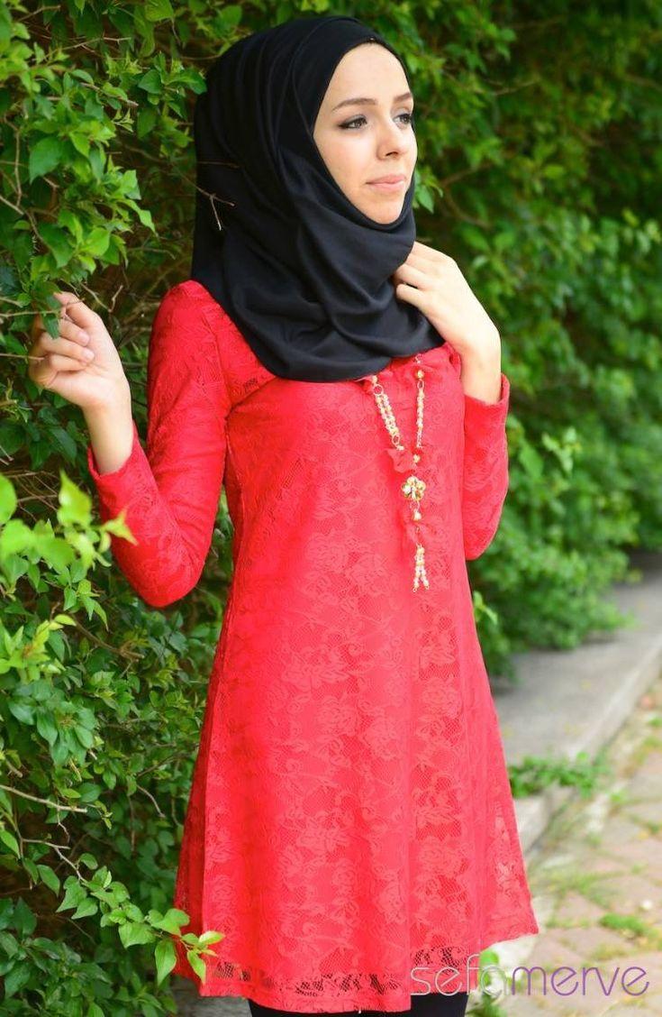 Tesettür Tunik 0562-06 Kırmızı