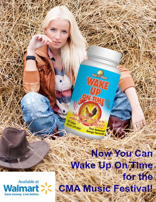 Get to know Wake Up On Time, so you can wake up on time each day of the CMA Music Festival...naturally! Now available at a Walmart location hear you! Image by Andre Ianovski. #risenshine #wakeupontime #allnatural #nutritionalsupplements #vitamins #morning #alarmclock #walmart #madeintheusa #madeinamerica #nashville #tennessee #countrymusic #festival #cmafest #cmamusicfestival #cmafest2017 #country #music #cowboys #cowgirls