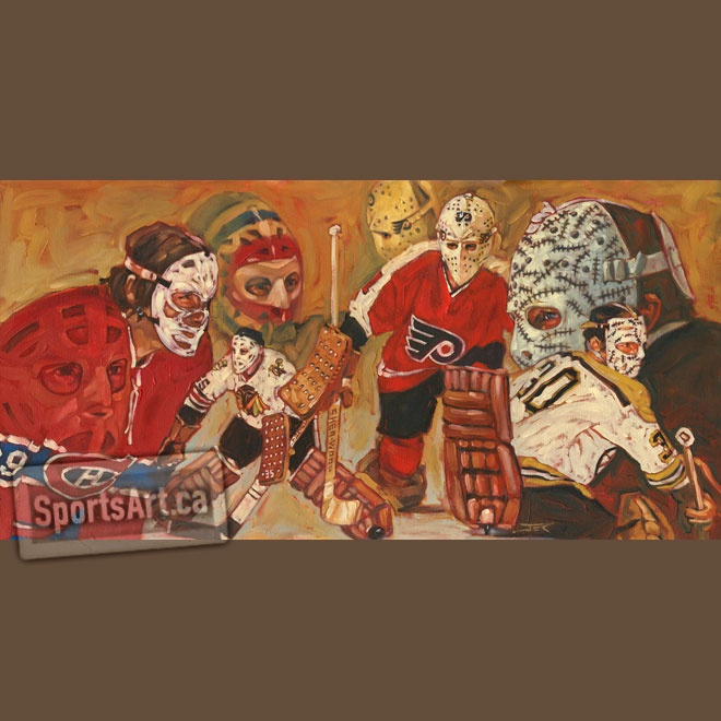 This painting montage is a tribute to my boyhood idols, Hall of Fame goaltenders Ken Dryden, Tony Esposito, Bernie Parent and Gerry Cheevers.