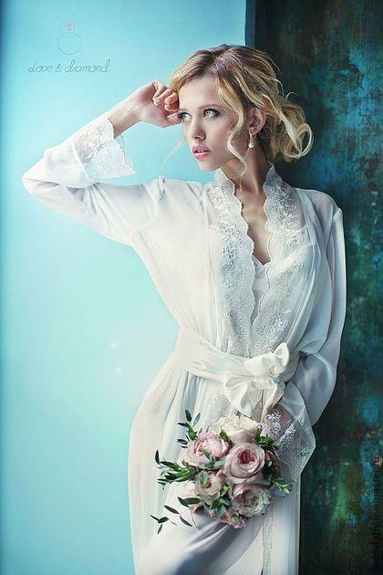 Длинный комплект с кружевом - пеньюар и сорочка.\r\nЭксклюзивное белье для свадьбы от Милы Маниной.