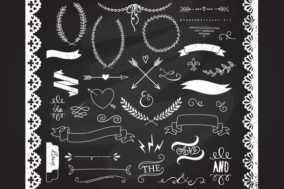 Check out Chalkboard Laurels clipart, Ribbons by GraphicMarket on Creative Market