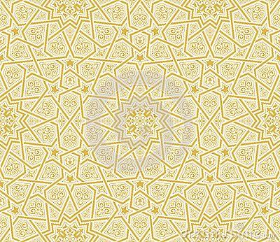 Islamic Star Ornament Golden Background