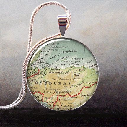 """Honduras map pendant charm Honduras necklace by thependantemporium, $9.25"" ... I'm definitely gonna get this soon."