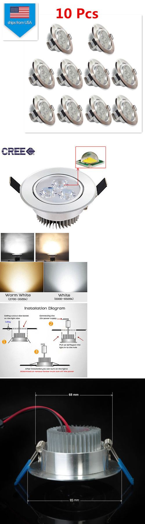 Lamps And Lighting: Us 10Ppcs 3W Cree Led Recessed Ceiling Light Downlight Spot Lamp Bulb Cool White -> BUY IT NOW ONLY: $36.27 on eBay!