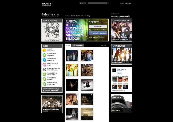Sony Fotofocus: un concorso, una community, un blog.  Un'avventura dedicata a tutti gli amanti della fotografia: un concorso fotografico e un blog redatto da esperti del settore con news, curiosità, consigli e storie dal mondo fotografico