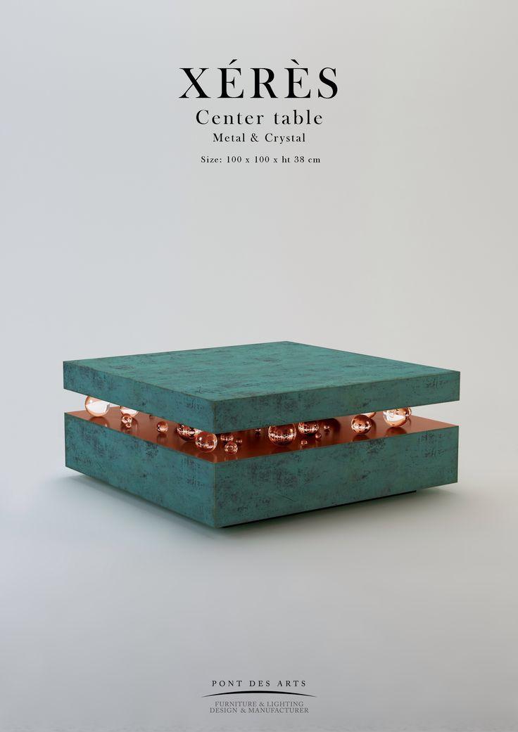 Xérès Center table - Metal And Crystal - Pont des Arts - Designer Monzer…