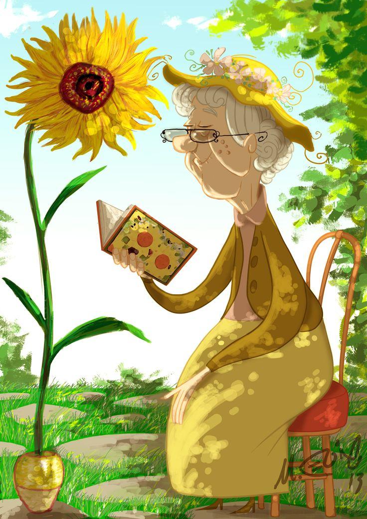 Mi deseo es... Cuando sea viejita, tener un hermoso jardín, y poder leer debajo de un árbol.  sunflower  Marcos Llussá llussa.blogspot.com
