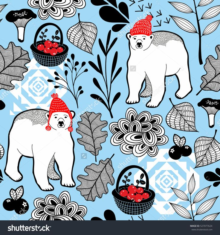 Seamless pattern with polar bear in cute red hat. Vector winter background of wild animals in the forest..