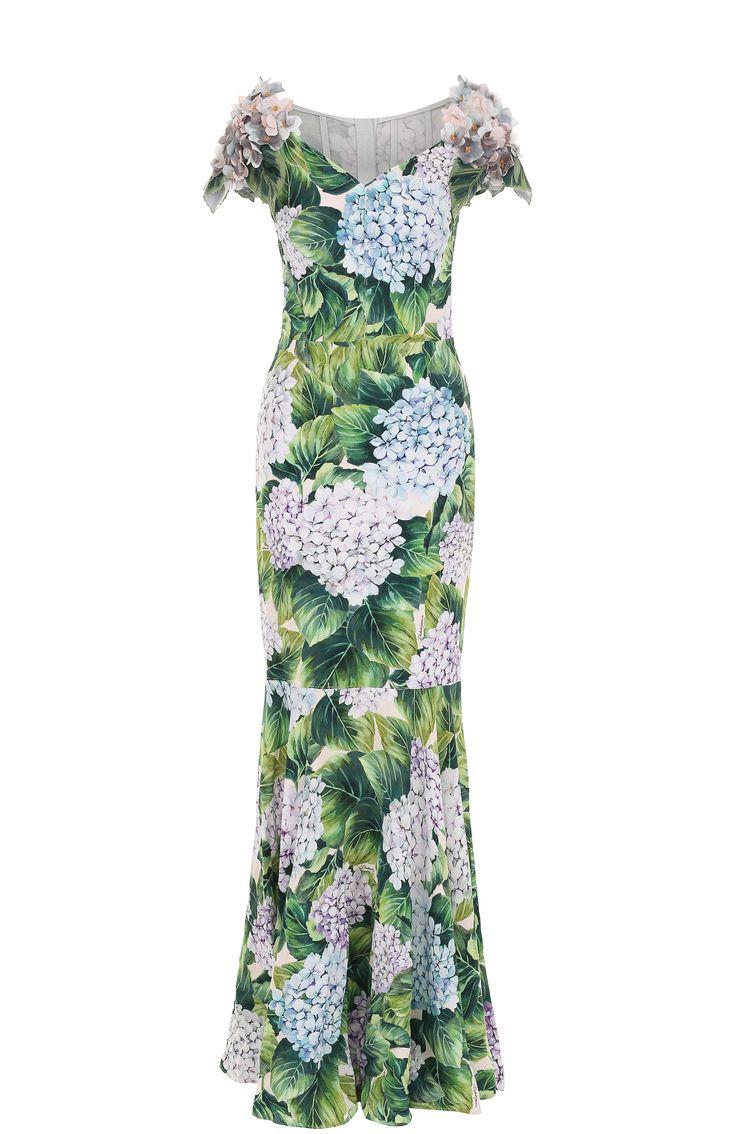 Женское зеленое платье-макси с цветочным принтом и фактурной отделкой Dolce & Gabbana, сезон FW 17/18, арт. 0102/F65A6Z/GDF75 купить в ЦУМ | Фото №1