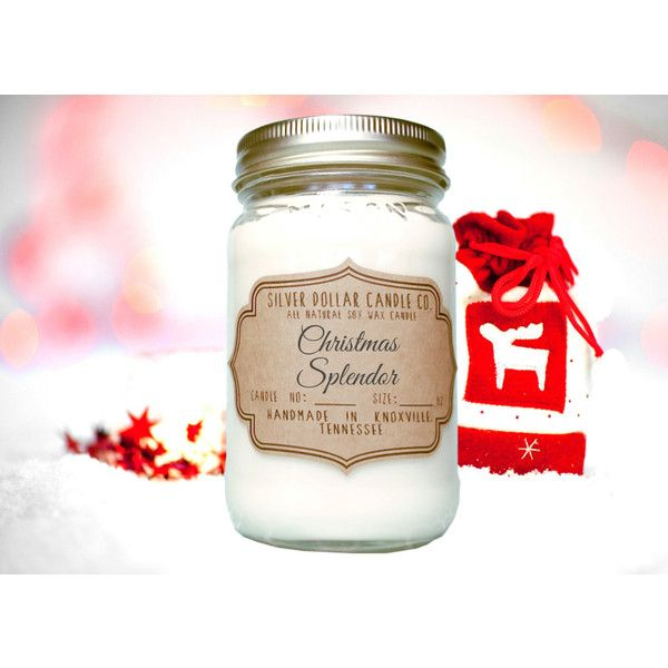 Christmas Splendor Scented Soy Candle Christmas Gift Ideas Mason Jar... (€14) ❤ liked on Polyvore featuring home, home decor, candles & candleholders, candles, candles & holders, container candles, home & living, home décor, silver and xmas candles