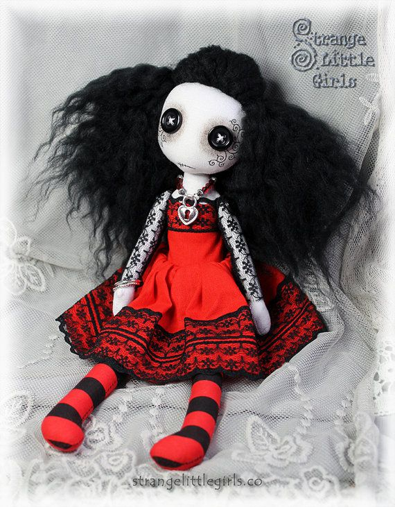 Button-eyed Gothic cloth art doll in red and black- Ruby Lovelock by Strange Little Girls