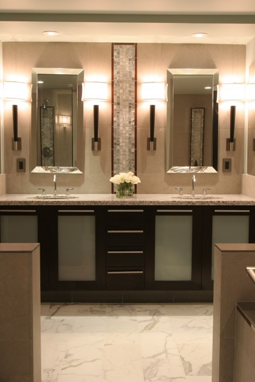 Bathroom Idea Visually Divide A Large Vanity Into Two Areas