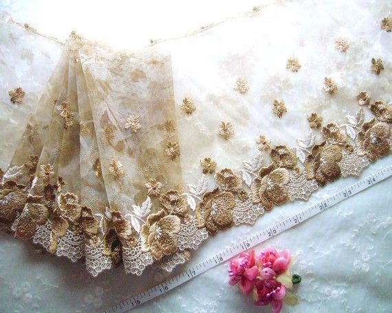 Embroidered tulle trim, lace trim, embroidered net trim, floral lace trim, brown trim, 2.5 meters PT040