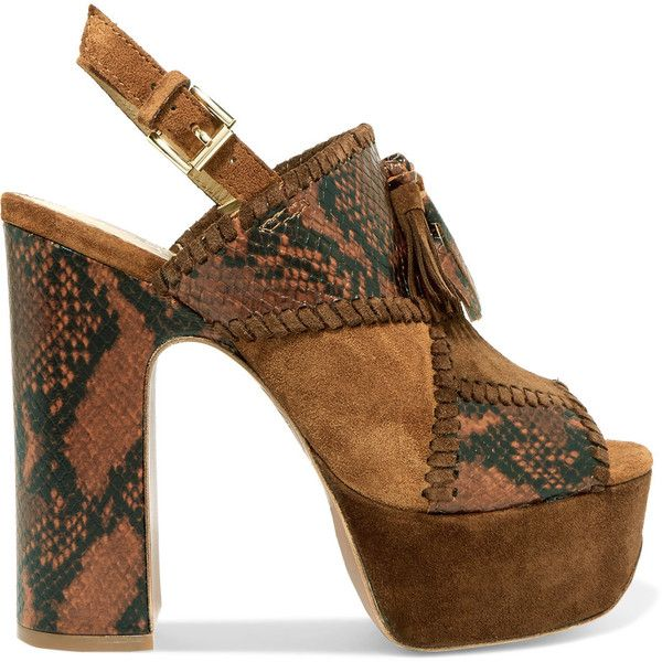 ASH Bohemian whipstitched snake-effect leather and suede platform... (£120) ❤ liked on Polyvore featuring shoes, sandals, heels, brown, strappy high heel sandals, brown strappy sandals, block heel sandals, high heeled footwear and leather strap sandals