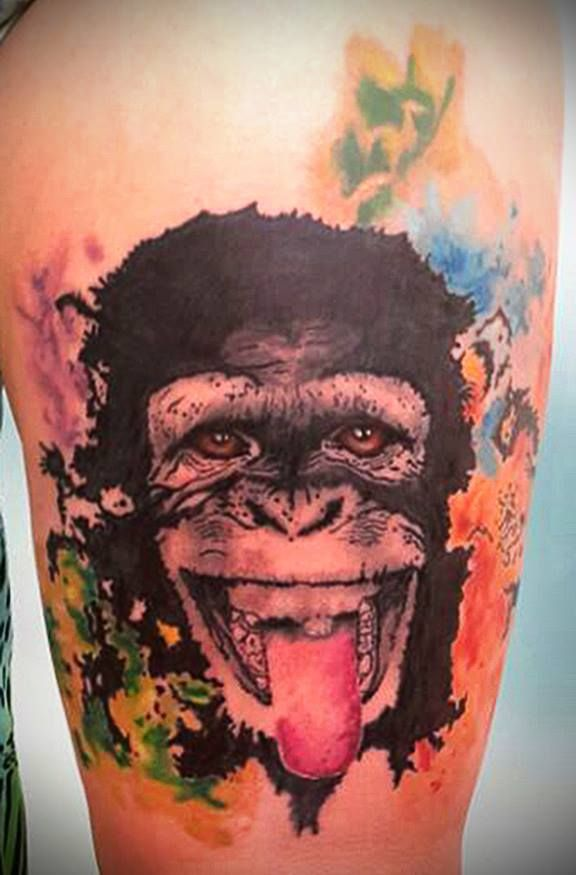 monkey tattoo watercolor