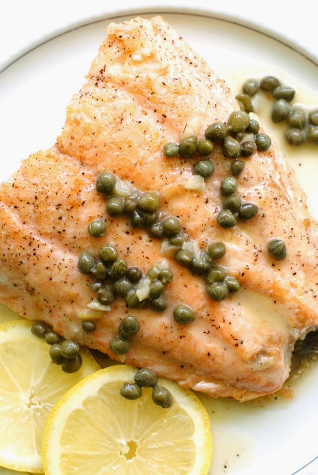 Crispy skin salmon piccata lemon butter sauce lemon for Lemon fish sauce recipe