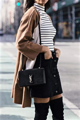 French Girl Spring Street Style Black And White Striped Top With Black Mini Skirt And Knee-High Black Suede Boots Camel Coat