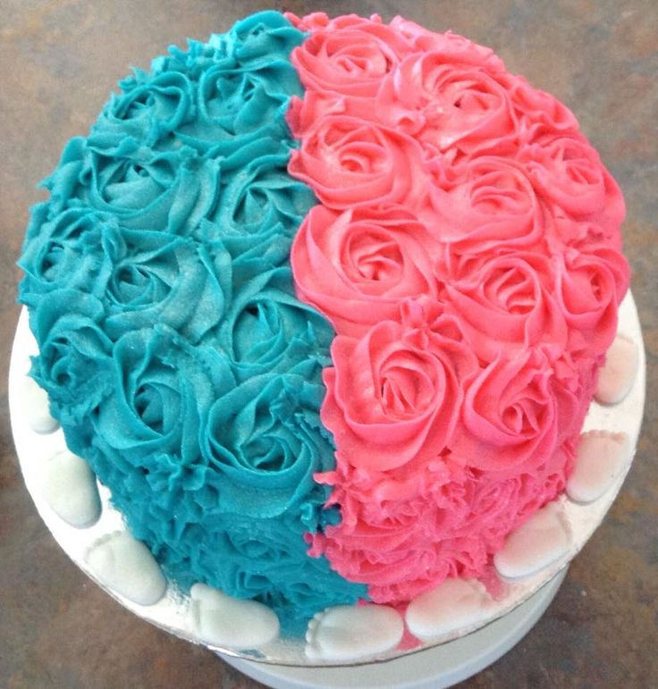 Pink & Blue Rosette Frosted Gender Reveal Cake decorated by Coast Cakes Ltd