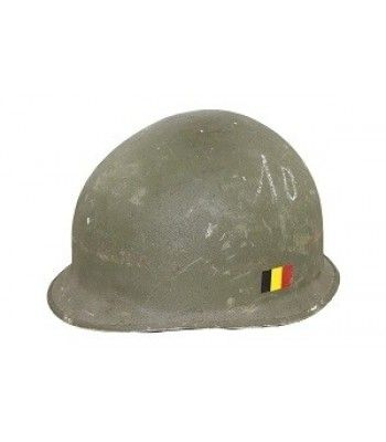 H A L L O W E E N    U.S. M1 HELMET - Helmets - We just discovered these U.S. M1 helmets. They were issued to the Belgian Army and were never used. They have a chin strap and removable liner. LIMITED QUANTITIES!