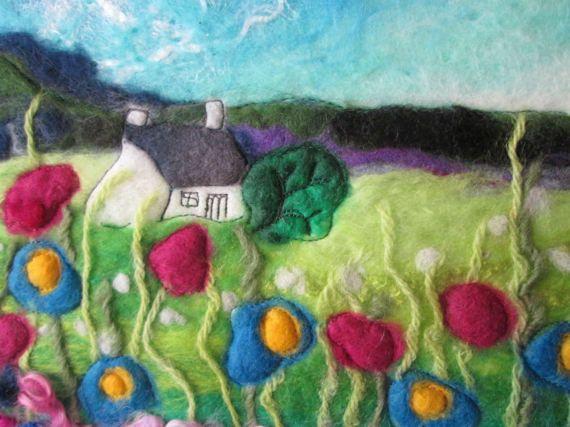 felt wall art wet felting summer flower meadow