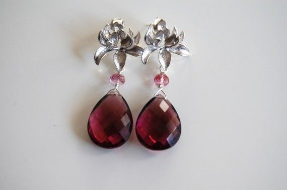 Shoply.com -AAA Rhodolite,pink topaz and rhodium plated chrysanthemum ear post earrings. Only C$65.00