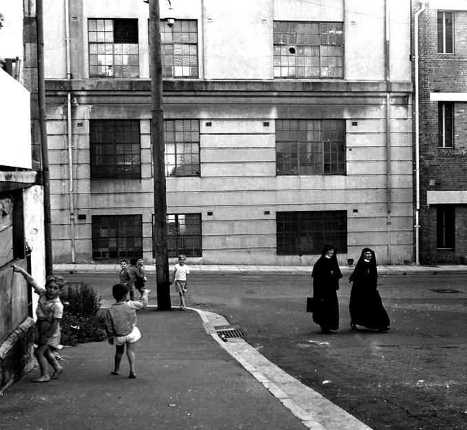 Untitled [Kids on street, Woolloomooloo] 1961 selenium toned gelatin silver print  by Sue Ford (1943-2009) - an Australian born photographer, film maker, and photomedia artist