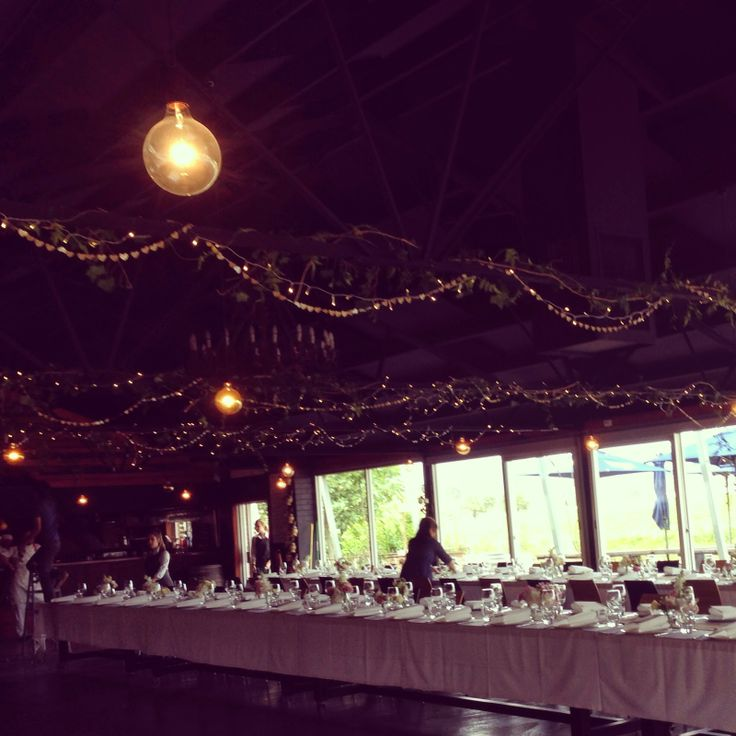 hanging fairy lights with ivy and jasmine on the rafters | rustic wedding | wedding venue setting | yarra valley wedding