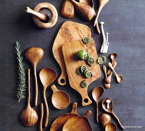 Roost Teak Wood Serveware & Utensil Collection has artistically shaped serveware and utensils hand-hewn from reclaimed Indonesian teak wood. A plethora of useful kitchen tools, boards, bowls and trays