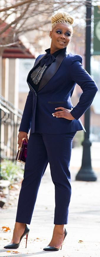 A Kimberly Goldson Navy Avys Boyfriend Blazer and Cami Cropped Pants Suit Photographed by Derek Blanks