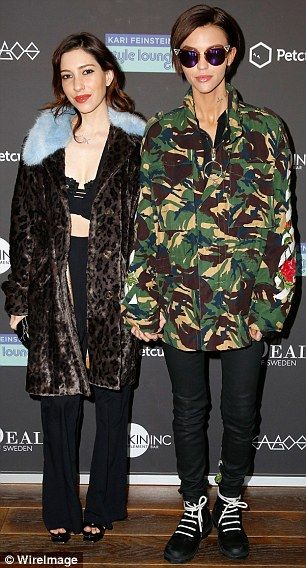 Cute couple: Ruby Rose swung by the fête with a date: her girlfriend and fellow Australian...