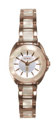 O.W.L Ladies 'Chelsea' gold watch with resin bezel and bracelet links- at Debenhams.ie